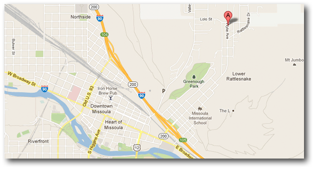 Google map and link to Terry Cyr Photography studio location at 2218 Wylie Ave in Missoula Montana